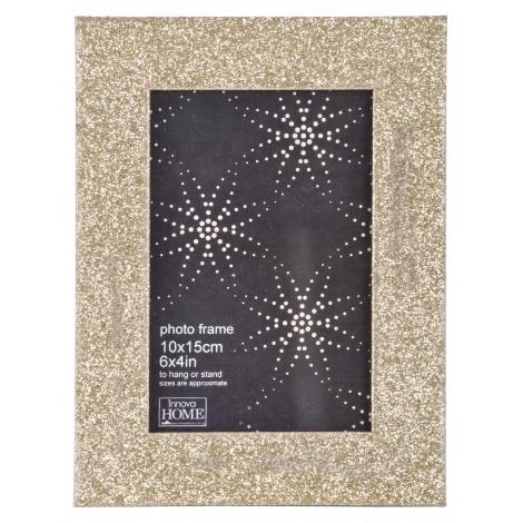 Luxusní dřevěný fotorámeček GLITTER 10x15 zlatý