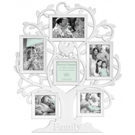 Bílý fotorámeček na více foto FAMILY strom na 6 fotografií