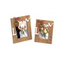 Svatební dřevěný fotorámeček s aplikací RAPTURE OF LOVE 10x15 cm natur