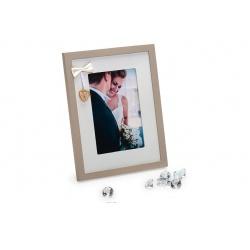 Svatební dřevěný fotorámeček s aplikací WEDDING PORTRAIT 10x15 bílý