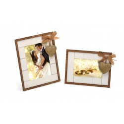 Svatební dřevěný fotorámeček s aplikací WE ARE TOGETHER 13x18 bílý