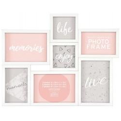 Bílý fotorámeček na 7 fotek s rámečkem A4 ZDARMA