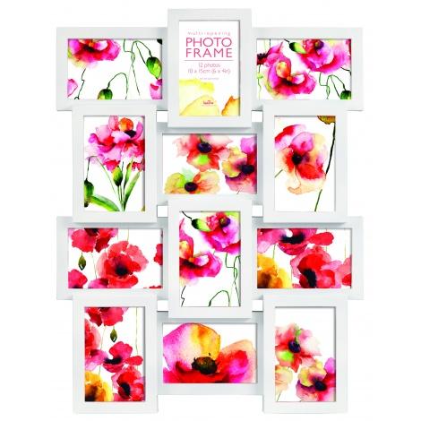 Bílý fotorámeček na 12 fotek s fotorámečkem 20x30 ZDARMA