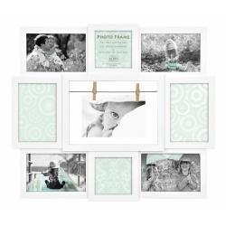 Bílý fotorámeček na 9 foto s rámečkem 20x30 ZDARMA