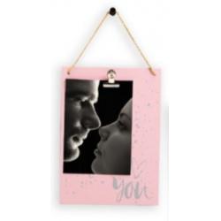 Dřevěný fotorámeček 10x15 YOU růžovostříbrný
