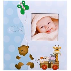 Dětské fotoalbum na růžky 29x32/60s. BABY´s LOVELY HEARTS modré