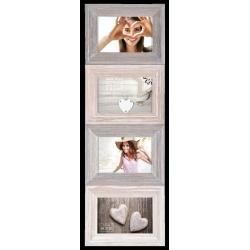 Dřevěný retro fotorámeček WASHED WOOD na 4 fotografie