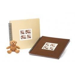 Spirálové fotoalbum na růžky 34x34/50s. DUETT béžové