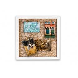 Fotorámeček na 6 fotek 10x15 s kolíčky Gitter gold