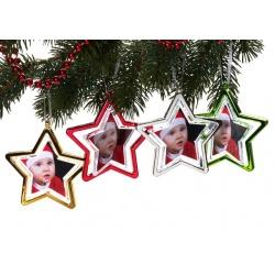 Vánoční ozdoba ve tvaru hvězdy na 2 foto zelená
