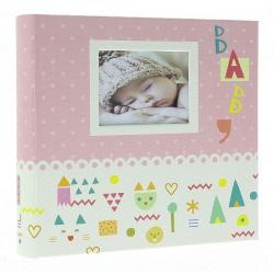 Dětské fotoalbum 10x15/200 BABY7G s popisem růžové