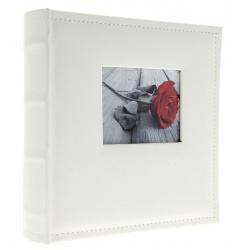 Kožené fotoalbum 10x15/300 s popisem WHITE W s výřezem na fotku