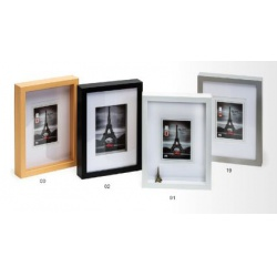 Hluboký dřevěný fotorámeček XXL 15x20 stříbrný