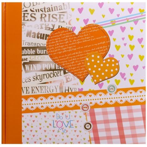 Fotoalbum na růžky 30x30/100 stran HAPPY NEWS oranžové
