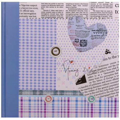 Fotoalbum na růžky 30x30/100 stran HAPPY NEWS tm.modré
