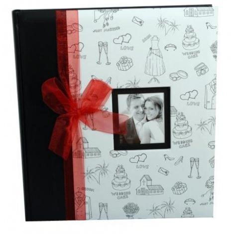 Svatební fotoalbum 29x32/60s. PETITE AMOUR červená mašle