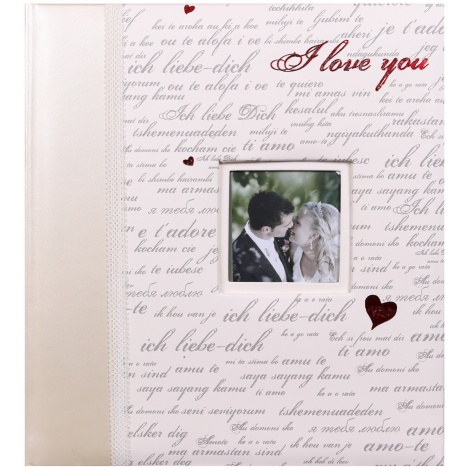 Svatební fotoalbum na růžky 29x32/60s. MODERN LOVE stříbrný text