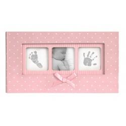 Růžové dětské fotoalbum 10x15/100 foto BABY Polka dot