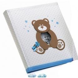 Dětské fotoalbum na růžky HAPPY TEDDY 29x32/60 modré