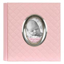 Růžové dětské fotoalbum Baby 10x15/200 s popisem