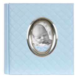 Modré dětské fotoalbum Baby Quilted 10x15/200 s popisem
