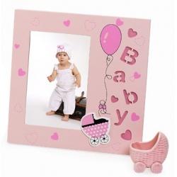 Dětský dřevěný fotorámeček 10x15 růžový