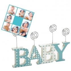 Dřevěný dětský fotorámeček-fotoclip BABY CLIP modrý