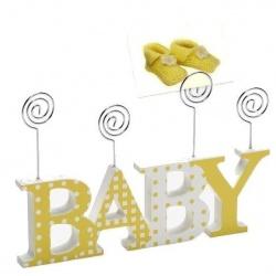 Dětský dřevěný fotorámeček-fotoclip BABY žlutá