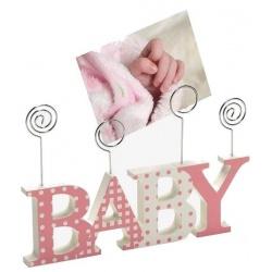 Dětský dřevěný fotorámeček-fotoclip BABY růžová