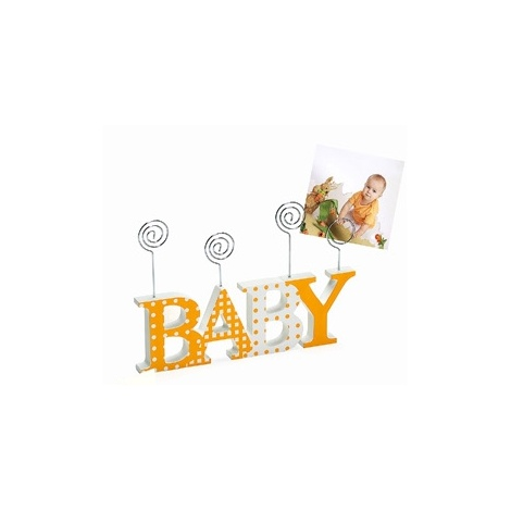 Dětský dřevěný fotorámeček-fotoclip BABY oranžový