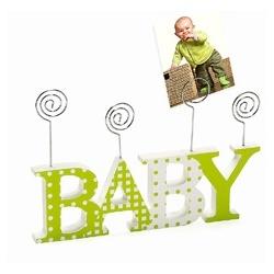 Dětský dřevěný fotorámeček-fotoclip BABY zelený