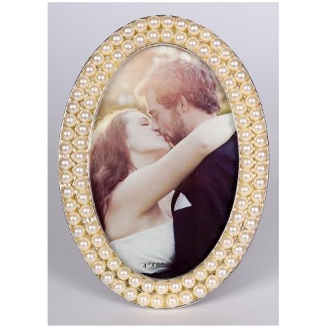 Svatební perlový oválný fotorámeček 10x15 PEARL OVAL