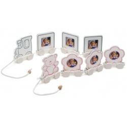 Dětský fotorámeček BABY TRAIN 3 5x5 růžový