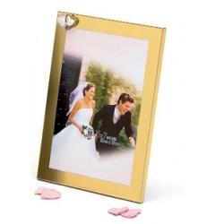 Svatební fotorámeček 13x18 WEDDING HEARTS zlatý