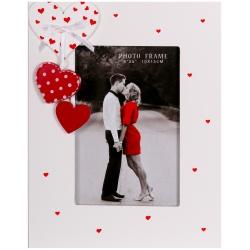 Svatební dřevěný fotorámeček s aplikací FIRST LOVE 10x15 cm