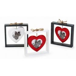 Dřevěná fotorámeček SWINGING HEART šedý bílé srdce