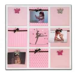 Dřevěný fotorámeček na více foto BALLET GIRL růžový