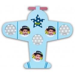 Dětský dřevěný fotorámeček BABY letadlo modrý
