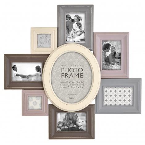 Barevný retro fotorámeček na více foto, na 8 fotografií
