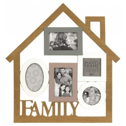 Dřevěný fotorámeček ve tvaru domečku  na více foto, s nápisem FAMILY