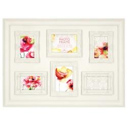 Bílý fotorámeček na více foto s dekorativní bordurou, na 6 fotografií