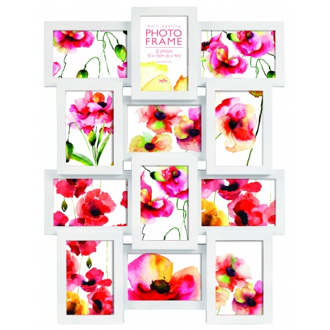 Bílý fotorrámeček na více foto, galerie na 12 fotografií 10x15