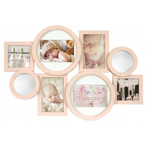 Dětský fotorámeček na více fotografií, růžový se zrcadélky
