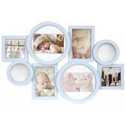 Dětský fotorámeček na více fotografií, modrý se zrcadélky