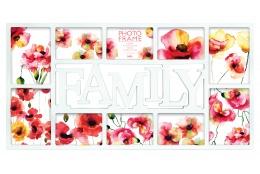 Bílý fotorámeček na více foto s nápisem FAMILY, na 10 fotografií