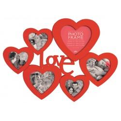 Červený srdíčkový fotorámečk na více foto s nápisem LOVE