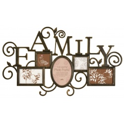 Bronzový fotorámeček antického vzhledu na více foto s nápisem FAMILY