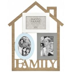 Dřevěný fotorámeček domeček na více foto FAMILY