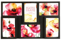 Černý fotorámeček na více foto, na 6 fotografií