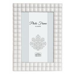 Skleněný fotorámeček 10x15 Jeweled Glass bílý